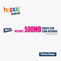 Happy Móvil regala 500MB de Internet móvil recargando 20€